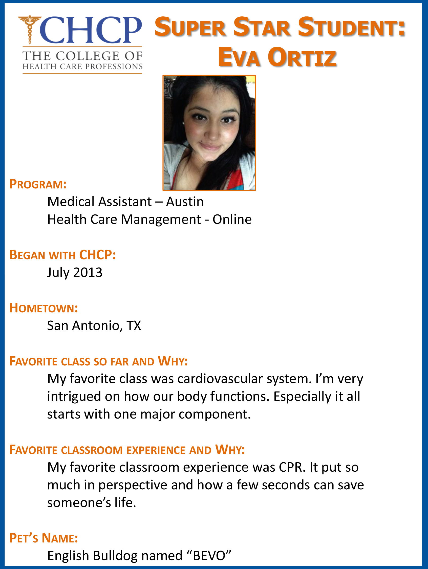 Chcp austins super student eva ortiz chcp blog eva ortiz is a medical assistant graduate out of austin she was recently hired at texan allergy in round rock eva is not done yet 1betcityfo Gallery