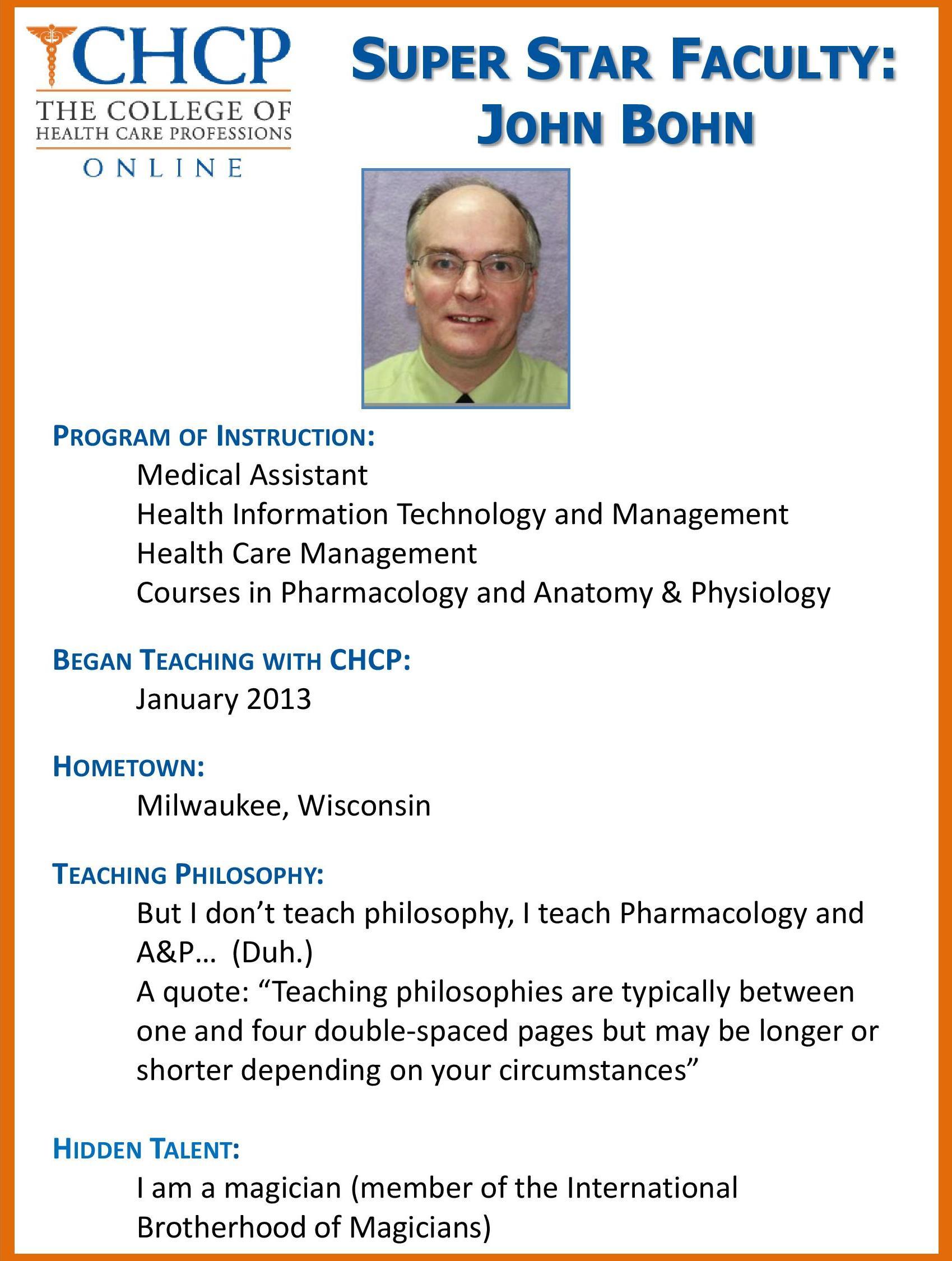 Chcp Online Super Star Faculty Dr John Bohn Chcp Blog